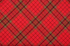 Background. Textiles. Bright red plaid  fabric as natural background Royalty Free Stock Image