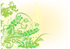 Background. Decorative background with green floral vector illustration