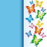 Background with 3d colorful butterflies Royalty Free Stock Photography