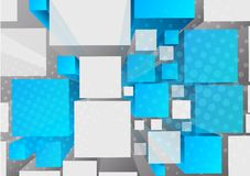 Background with 3d cubes. In blue color stock illustration