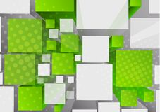 Background with 3d cubes. In green color vector illustration