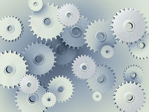 Background of 3D gears. 3D Illustration of gears floating in space Stock Image