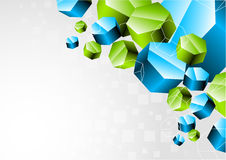 Background with 3d hexagon. Clip-art Vector Illustration