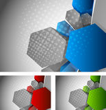 Background with 3d hexagon. Bright grey background with 3d color hexagon Stock Photos