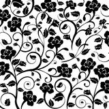Background. Black and white Floral Rose pattern Royalty Free Stock Photos