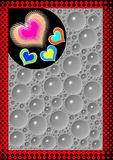 Background. Backdrop designed by glass painting filled with sharp glossy hearts and random water drops Royalty Free Stock Photo