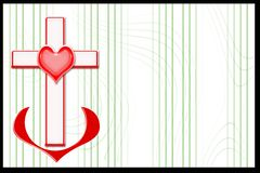 Background. Cross coupled with heart on green abstract background Royalty Free Stock Photos
