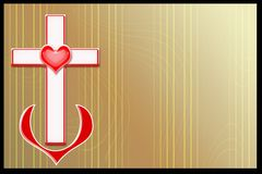 Background. Cross coupled with heart on golden abstract background Royalty Free Stock Images