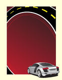 Background. Silver car on the red background Royalty Free Stock Images