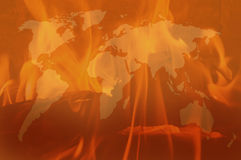 Background. With map and flames Royalty Free Stock Image