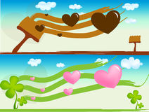 Background. Two banners -flying on hearts Royalty Free Stock Photography