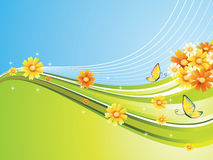 Background. Vector color background flower and butterfly illustration Royalty Free Stock Photo