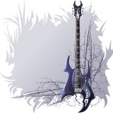 Background. With black guitar and spiny branches Stock Photo