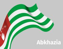 Background with Abkhazia wavy flag. On grey, vector illustration Royalty Free Stock Images