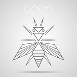 Background With Abstract Bee And Honeycomb. Technical style insect icon. Design element abstract symmetric form. Idea for logo or corporate identity Royalty Free Stock Photo