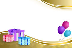 Background abstract beige birthday party gift box pink violet blue balloons gold ribbon frame illustration Royalty Free Stock Image