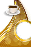Background abstract beige cup coffee brown vertical gold ribbon illustration.  Royalty Free Stock Photo