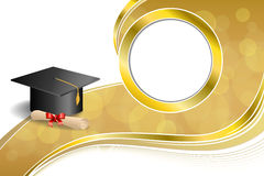 Background abstract beige education graduation cap diploma red bow gold circle frame illustration