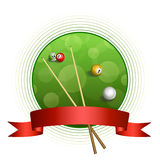 Background abstract billiard green red ball circle frame ribbon illustration Royalty Free Stock Photo