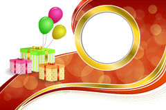 Background abstract birthday party gift box green red yellow balloons gold ribbon circle frame illustration Stock Images