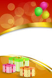 Background abstract birthday party gift box green red yellow balloons gold ribbon vertical frame illustration Stock Photo