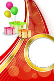 Background abstract birthday party gift box green red yellow balloons gold ribbon vertical frame illustration Royalty Free Stock Photos