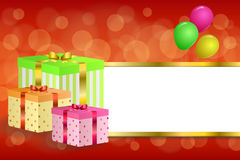 Background abstract birthday party gift box green red yellow balloons stripes gold frame illustration Stock Images
