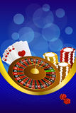 Background abstract blue casino roulette cards chips craps frame vertical gold ribbon illustration Royalty Free Stock Images