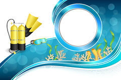 Background abstract blue diving sport yellow aqualung flippers mask circle frame illustration Stock Photo