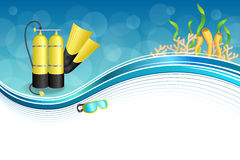 Background abstract blue diving sport yellow aqualung flippers mask frame illustration Stock Photos