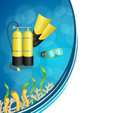 Background abstract blue diving sport yellow aqualung flippers mask frame illustration Royalty Free Stock Images