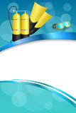 Background abstract blue diving sport yellow aqualung flippers mask frame vertical ribbon illustration Royalty Free Stock Photo