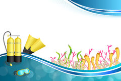 Background abstract blue diving sport yellow aqualung flippers mask illustration Royalty Free Stock Images
