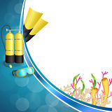 Background abstract blue diving sport yellow aqualung flippers mask illustration Stock Image