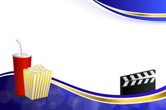 Background abstract blue gold drink popcorn movie clapper board frame illustration Royalty Free Stock Images