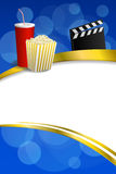 Background abstract blue gold red drink popcorn movie clapper board gold frame ribbon vertical illustration Royalty Free Stock Images