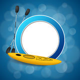 Background abstract blue kayak sport yellow circle frame illustration Stock Photography