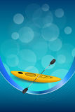Background abstract blue kayak sport yellow ribbon vertical frame illustration Stock Photo
