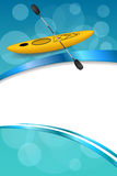 Background abstract blue kayak sport yellow ribbon vertical frame illustration Royalty Free Stock Photo