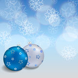 Background abstract blue new year Christmas ball frame illustration Royalty Free Stock Image