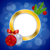 Background abstract blue new year Christmas ball red yellow gold circle frame illustration Royalty Free Stock Photo