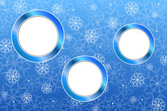 Background abstract blue new year Christmas snowflake circle frame illustration Royalty Free Stock Image