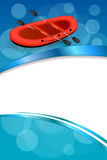 Background abstract blue rafting boat red sport vertical frame illustration Stock Images