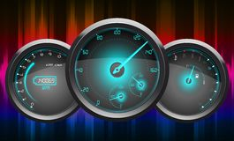 Background abstract blue red of a car speedometer Royalty Free Stock Photo