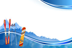 Background abstract blue ski snowboard red orange winter sport frame illustration Stock Photography