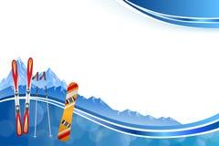 Background abstract blue ski snowboard red orange winter sport frame illustration. Vector Stock Photography