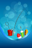 Background abstract blue white fishing rod red bucket fish net float spoon yellow green frame vertical illustration Royalty Free Stock Image
