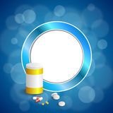 Background abstract blue white medicine tablets pill plastic bottle packages frame circle illustration Royalty Free Stock Images