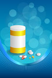 Background abstract blue white medicine tablets pill plastic bottle packages frame vertical ribbon illustration Royalty Free Stock Photo