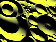 Sound devices. Background abstract of bright but moody black and yellow warped circular objects vector illustration